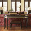 Tommy Bahama Home Royal Kahala Banyon Tree Console with Brass Accents - Shown with Edgewater Sofa and Tidal Pool Bed Bench