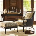 Tommy Bahama Home Royal Kahala Banyon Tree Console with Brass Accents - Shown with Sumatra Chair and Ottoman