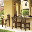 Tommy Bahama Home Royal Kahala Customizable Rattan & Leather Pacific Rim Bar Stool - Shown with Pacific Rim Counter Stools