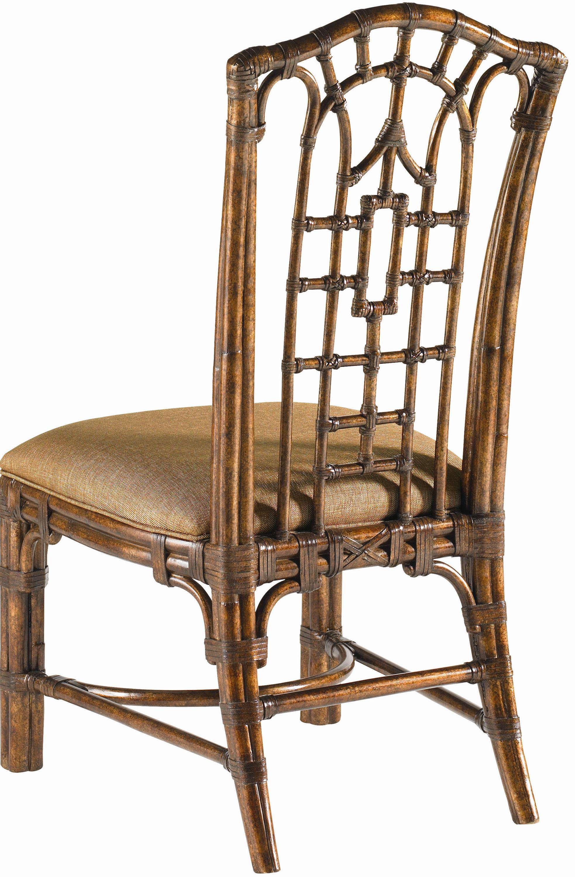Tommy Bahama Home Royal Kahala Quick Ship Rattan Leather Pacific Rim Side Chair With