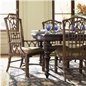 Tommy Bahama Home Royal Kahala Customizable Rattan & Leather Pacific Rim Arm Chair with Upholstered Seat - Shown with Pacific Rim Side Chairs and Islands Edge Dining Table