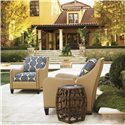 Tommy Bahama Home Royal Kahala Rattan with Leather Binding Oval Reef Accent Table - Shown with Koko Chairs