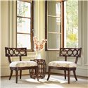 Tommy Bahama Home Royal Kahala Rattan with Leather Binding Oval Reef Accent Table - Shown with Koa Chairs