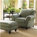 Tommy Bahama Home Royal Kahala Upholstered Edgewater Chair with Rolled Arms & Nailhead Trim - Shown with Edgewater Ottoman and Tropic Lamp Table