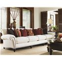 Tommy Bahama Home Royal Kahala Edgewater Rolled Arm Extended Sofa with Decorative Nailhead Trim - Shown with Pacific Campaign Cocktail Table and Tropic Lamp Table