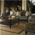 Tommy Bahama Home Royal Kahala Edgewater Two-Tier Ottoman with Nailhead Trim - Shown with Turtle Bay Sofa, Black Sands Lamp Table, and Tropic Cocktail Table