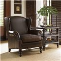 Tommy Bahama Home Royal Kahala Batik Leather Wing Chair with Decorative Nailhead Trim - Shown with Tropic Lamp Table