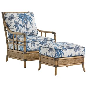 Tommy Bahama Home Twin Palms Chair & Ottoman Set