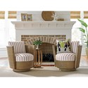 Tommy Bahama Home Twin Palms Tarpon Cay Rattan Swivel Chair - Twin Palms Pillow Sold Separately