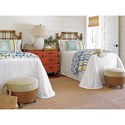 Tommy Bahama Home Twin Palms St. Kitts Twin Sized Headboard with Leather-Wrapped Rattan and Burnished Finials