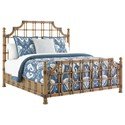 Tommy Bahama Home Twin Palms St. Kitts Woven Rattan Bed Queen Size with Leather Wrappings and Brass Finials - Bed Shown May Not Represent Size Indicated