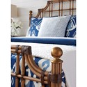 Tommy Bahama Home Twin Palms St. Kitts Woven Rattan Bed Queen Size with Leather Wrappings and Brass Finials