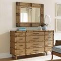 Tommy Bahama Home Twin Palms Windward Twelve Drawer Dresser and Savana Mirror Set