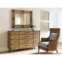 Tommy Bahama Home Twin Palms Windward Twelve Drawer Dresser and Savana Mirror Set