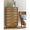 Tommy Bahama Home Twin Palms Bridgetown Chest with Raffia Drawer Fronts and Leather-Wrapped Bamboo Trim