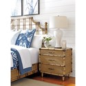 Tommy Bahama Home Twin Palms Parrot Cay Three Drawer Nightstand with Woven Raffia Panels