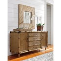 Tommy Bahama Home Twin Palms Sandy Point Raffia and Bamboo Buffet with Adjustable Shelving