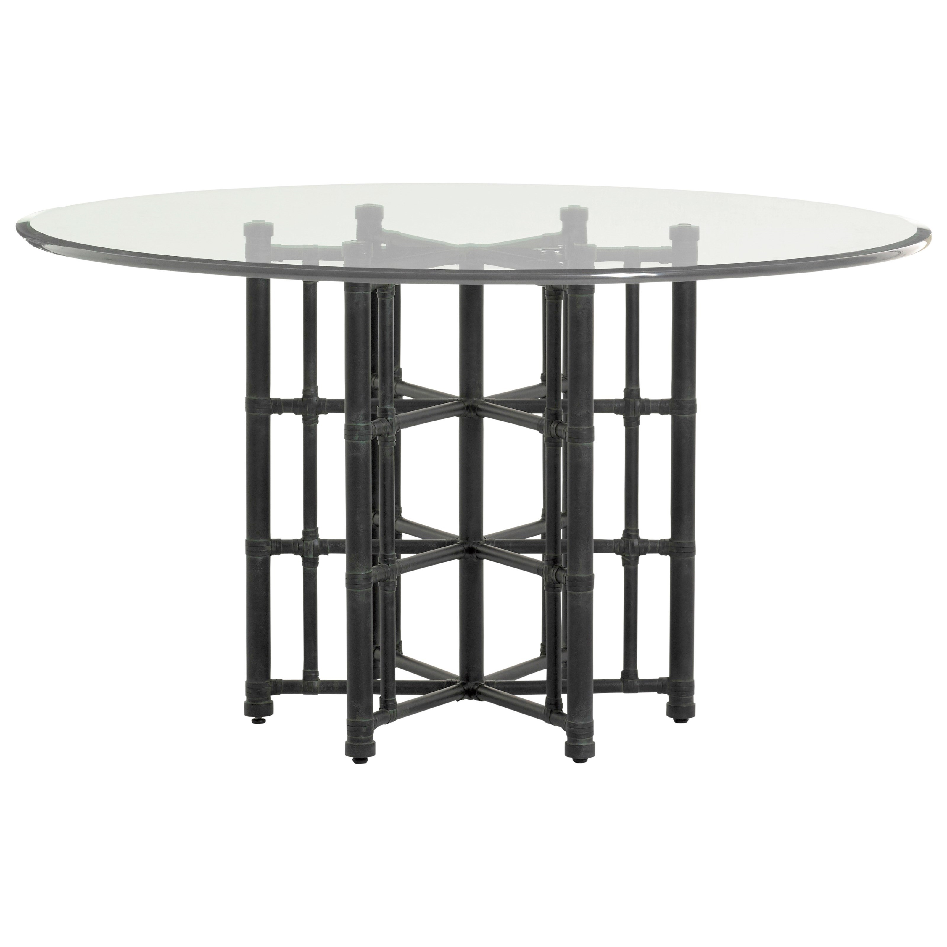 """Twin Palms Stellaris Dining Table 54"""" Glass Top by Tommy Bahama Home at Baer's Furniture"""