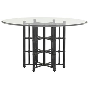 "Tommy Bahama Home Twin Palms Stellaris Dining Table 54"" Glass Top"