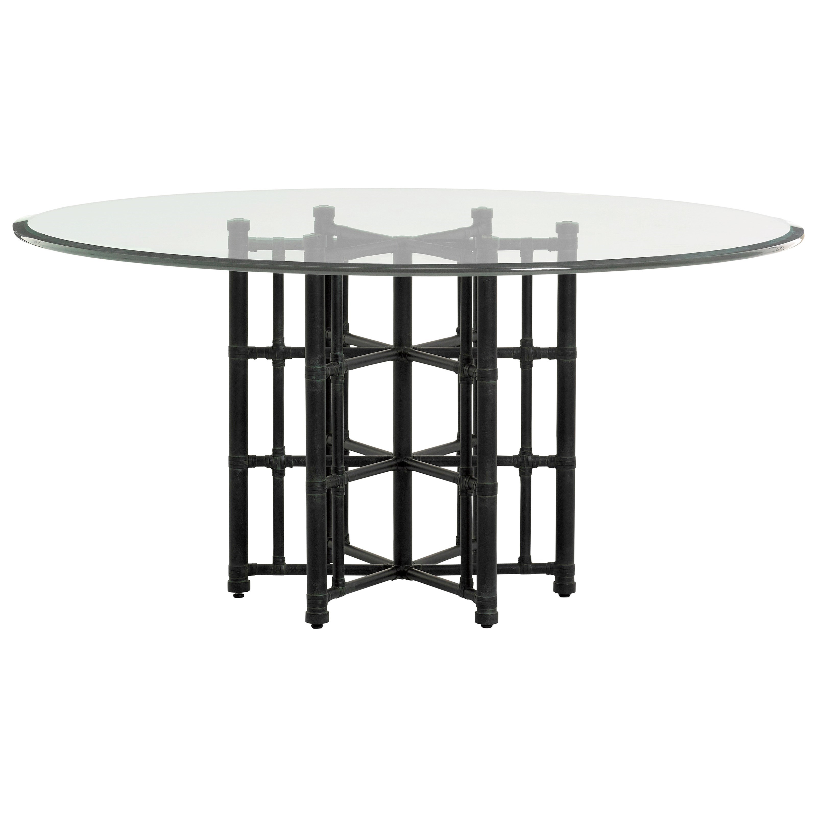"""Twin Palms Stellaris Dining Table 60"""" Glass Top by Tommy Bahama Home at Baer's Furniture"""