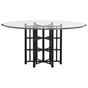 "Tommy Bahama Home Twin Palms Stellaris Dining Table 60"" Glass Top"
