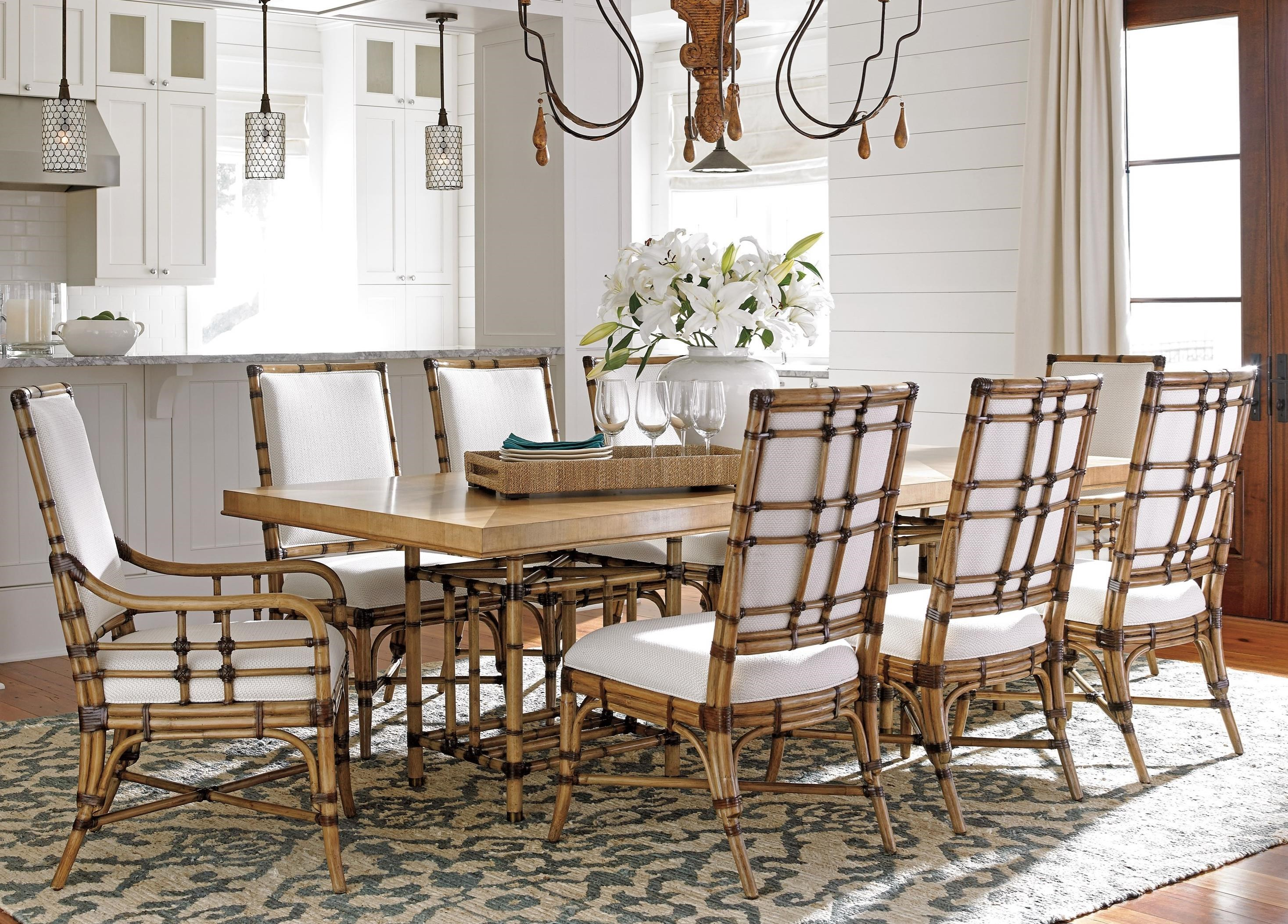 Tommy Bahama Home Twin Palms 9 Pc Dining Set - Item Number: 558-876C+2X883-01+6X882-01