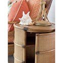 Tommy Bahama Home Twin Palms Cassada Drum Table with Raffia Sides and Crushed Bamboo Top