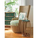 Tommy Bahama Home Twin Palms Weston Chairside Accent Table with Glass Top and Rattan Base