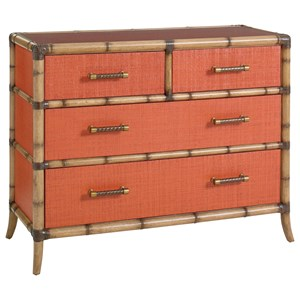 Tommy Bahama Home Twin Palms Red Coral 4 Drawer Chest