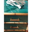 Tommy Bahama Home Twin Palms_Teal Raffia Accent Chest with Protective Glass Top