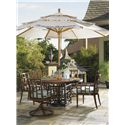 Tommy Bahama Outdoor Living Alfresco Living Canvas Umbrella with Wood Pole - Shown with Umbrella Base and Ocean Club Resort\'s Dining Arm Chairs, Swivel Rocker Dining Chairs, and Round Dining Table