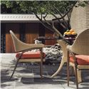 Tommy Bahama Outdoor Living Aviano Outdoor Dining Arm Chair with Rounded Wicker Back and Upholstered Seat Cushion