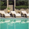 Tommy Bahama Outdoor Living Aviano Outdoor Wicker Chaise Lounge with Curved Armrests, Casters, and Pillowy Cushion