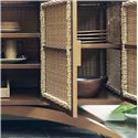 Tommy Bahama Outdoor Living Aviano 4 Door Outdoor Wicker Buffet with 4 Shelves, Grommet Hole, and Mocha-Finished Aluminum Curved Base