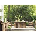 Tommy Bahama Outdoor Living Aviano Rectangular Outdoor Dining Table with Curvy Wicker Base and Rectangular Weatherstone Top