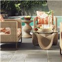 Tommy Bahama Outdoor Living Aviano Outdoor Cocktail Table with Curvy Wicker Base and Round Glass Top