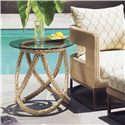Tommy Bahama Outdoor Living Aviano Outdoor End Table with Round Glass Top and Weaved Wicker Base