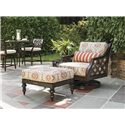 Tommy Bahama Outdoor Living Black Sands Outdoor Ottoman with Turned Legs