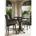 Tommy Bahama Outdoor Living Blue Olive High Bistro Table Set - Item Number: 3230+873BB+WT+2x165SW+CS16SW