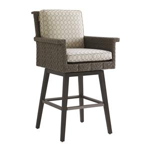 Tommy Bahama Outdoor Living Blue Olive Swivel Bar Stool