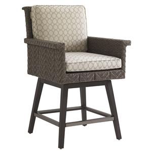 Tommy Bahama Outdoor Living Blue Olive Swivel Counter Stool