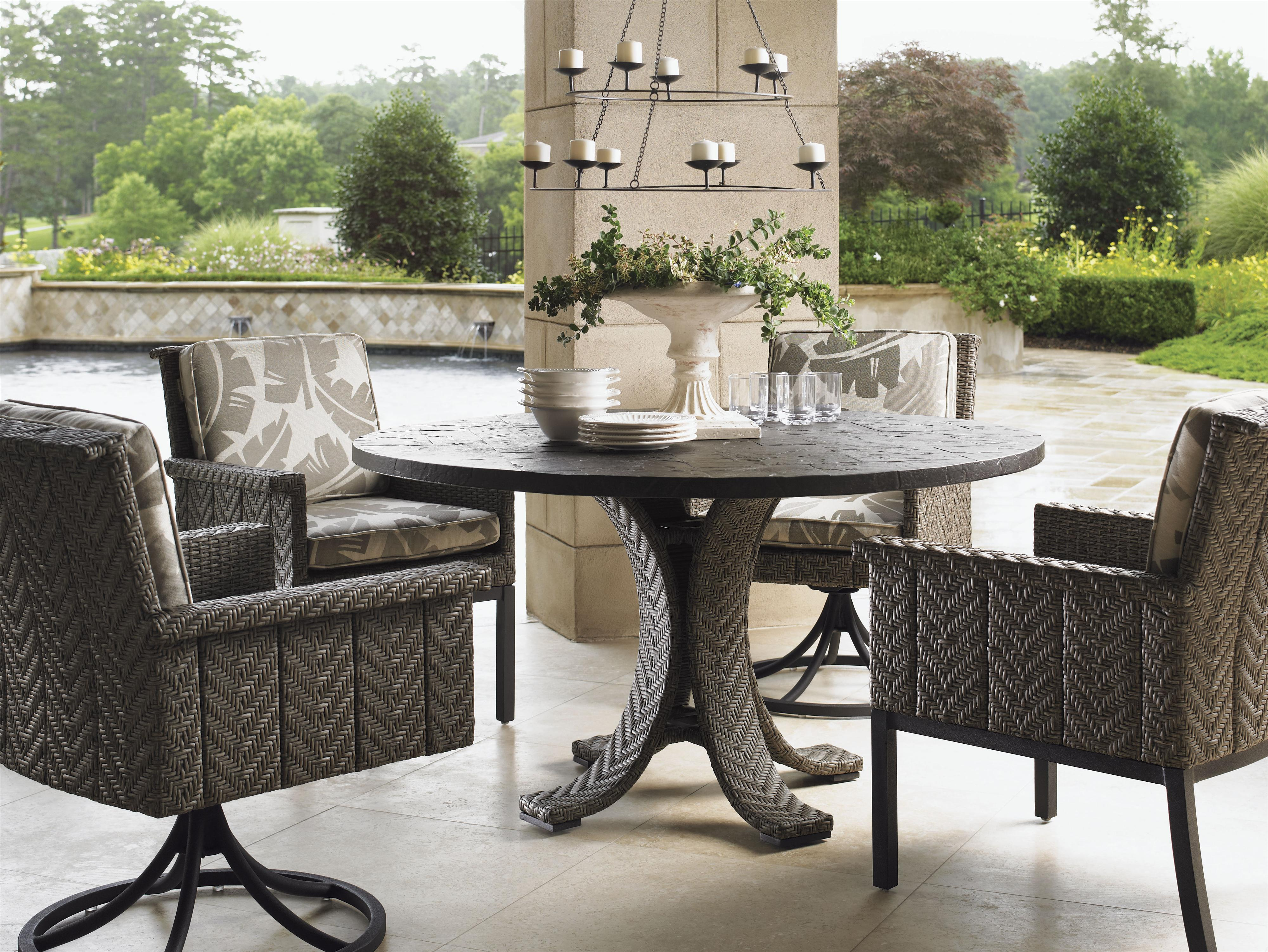 tommy bahama outdoor living blue olive 54 round dining table