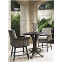 Tommy Bahama Outdoor Living Blue Olive Low Bistro Table Set - Item Number: 3230-873BB+WT+2x17SW+CS17SW