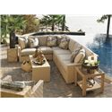 Tommy Bahama Outdoor Living Canberra Surf & Sand Tropical Outdoor Wicker End Table with Glass Insert - Shown with Sectional Sofa, Glass End Table, and Cocktail Table