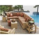 Tommy Bahama Outdoor Living Canberra Surf & Sand Tropical Outdoor Wicker End Table with Glass Insert - Shown with Sectional Sofa, Glass End Table, Cocktail Table, and Square Ottomans