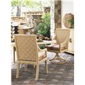 Tommy Bahama Outdoor Living Canberra Surf & Sand Tropical Outdoor Swivel Rocker Dining Chair - Shown with Dining Arm Chair