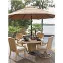 Tommy Bahama Outdoor Living Canberra Surf & Sand Tropical Outdoor Swivel Rocker Dining Chair - Shown with Round Table, Dining Arm Chair, and Umbrella