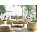 Tommy Bahama Outdoor Living Canberra Surf & Sand Tropical Outdoor Ottoman - Shown with Scattered-Back Cushion Sofa, Glass End Table, Swivel Chair, and Glass Cocktail Table