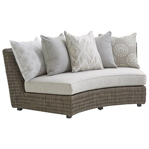 Tommy Bahama Outdoor Living Cypress Point Ocean Terrace Outdoor Armless Sofa w/ Scatterback Cushions