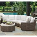 Tommy Bahama Outdoor Living Cypress Point Ocean Terrace 4 Seat Curved Sectional Sofa w/ Box Cushions - Item Number: 3900-82L+CS82LB+82R+CS82RB-7071-11